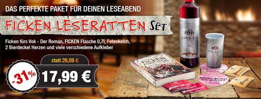 Angebot - FICKEN Leseratten-Set mit FICKEN FÜRS VOLK - der Roman, FICKEN 0,7l uvm. für 17,99 EUR