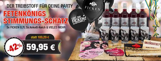 Angebot - Fetenkönigs Stimmungs-Schatz mit 5x FICKEN 0,7l + 5x Ankett-Kelch + Aufkleber + Fahne + CD uvm. für 59,95 EUR
