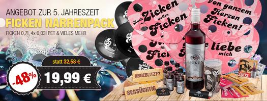 Angebot - FICKEN Narrenpack mit FICKEN 0,7l + 4x 0,03l PET für 19,99 EUR