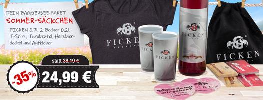 Angebot - FICKEN Sommer-Säckchen mit FICKEN 0,7l, 2x Becher, Herzbierdeckel, Aufkleber für 24,99 EUR