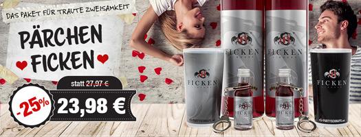 Angebot - Pärchen FICKEN mit 2x FICKEN 0,7l, 2x Fetenkelch, 2x FICKEN 0,02l mit Handschellen für 23,98 EUR