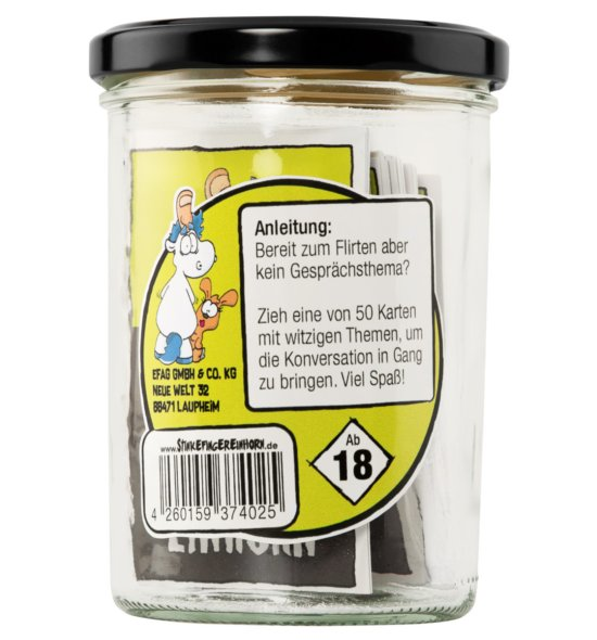 Stinkefingereinhorn - das Anmachglas Rückseite