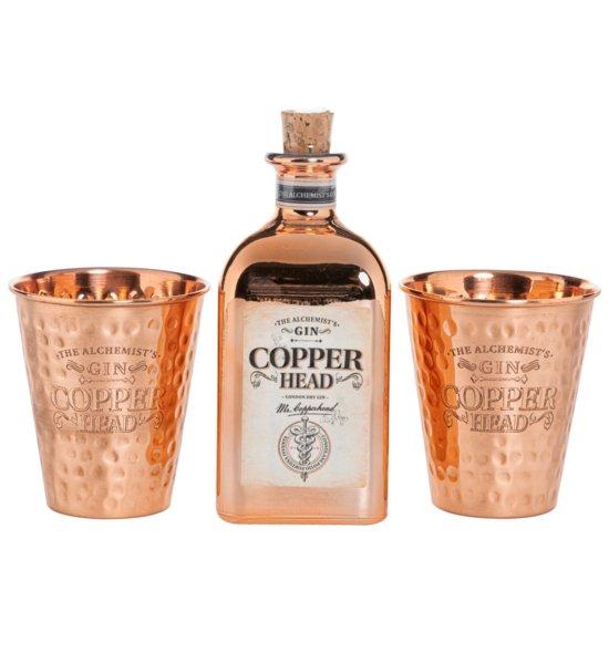 The Alchemist's Gin Copperhead Flasche und Becher