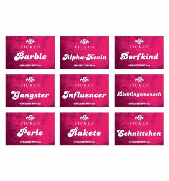 FICKEN Aufkleber Mix Pink · 9 Motive