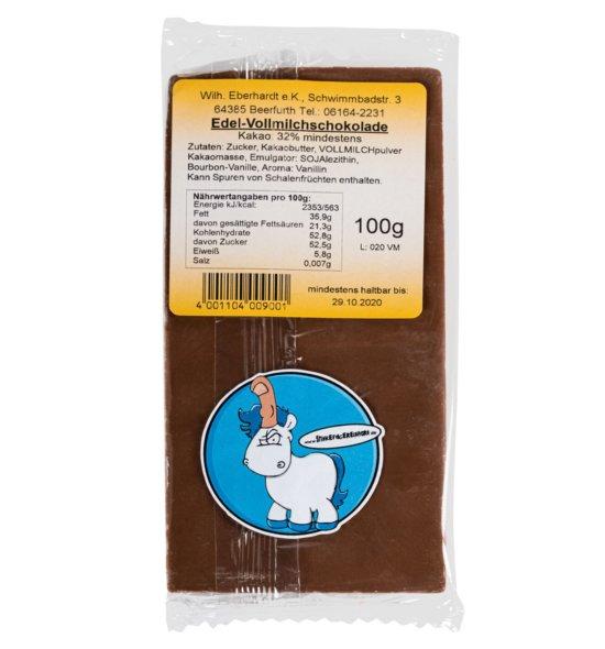 Stinkefingereinhorn Schokolade Vollmilch Rückseite