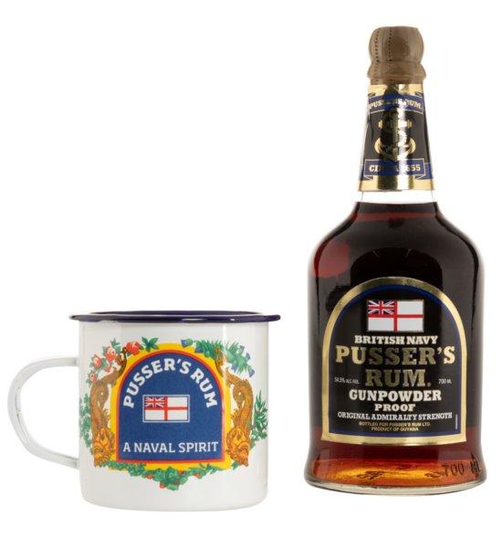 Pusser's Rum Black Label inkl. Emaille Tasse