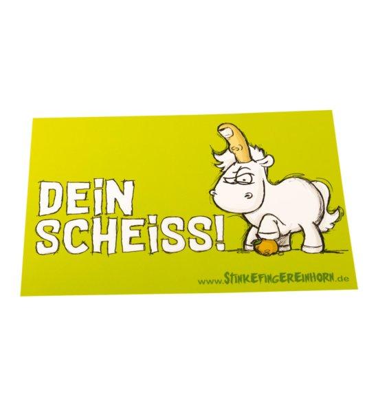 Postkarte Stinkefingereinhorn Dein Scheiss vorne