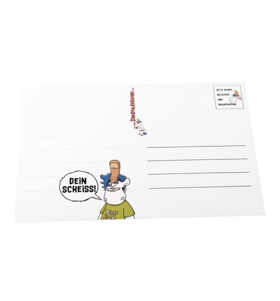 Postkarte Stinkefingereinhorn Dein Scheiss hinten