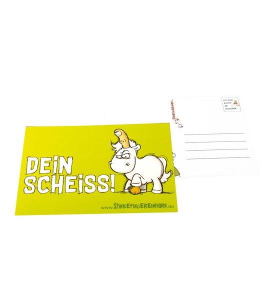 Stinkefingereinhorn Postkarte Dein Scheiss vorne und hinten
