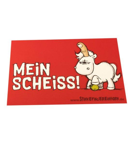 Stinkefingereinhorn Postkarte Mein Scheiss vorne