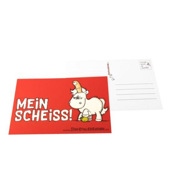 Stinkefingereinhorn Postkarte Mein Scheiss vorne und hinten