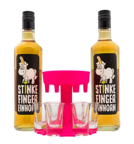 Shotbuddy Pink mit Stinkefingereinhorn-Korn