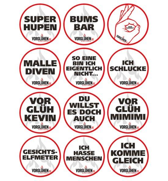VORGLÜHEN Sticker Übersicht